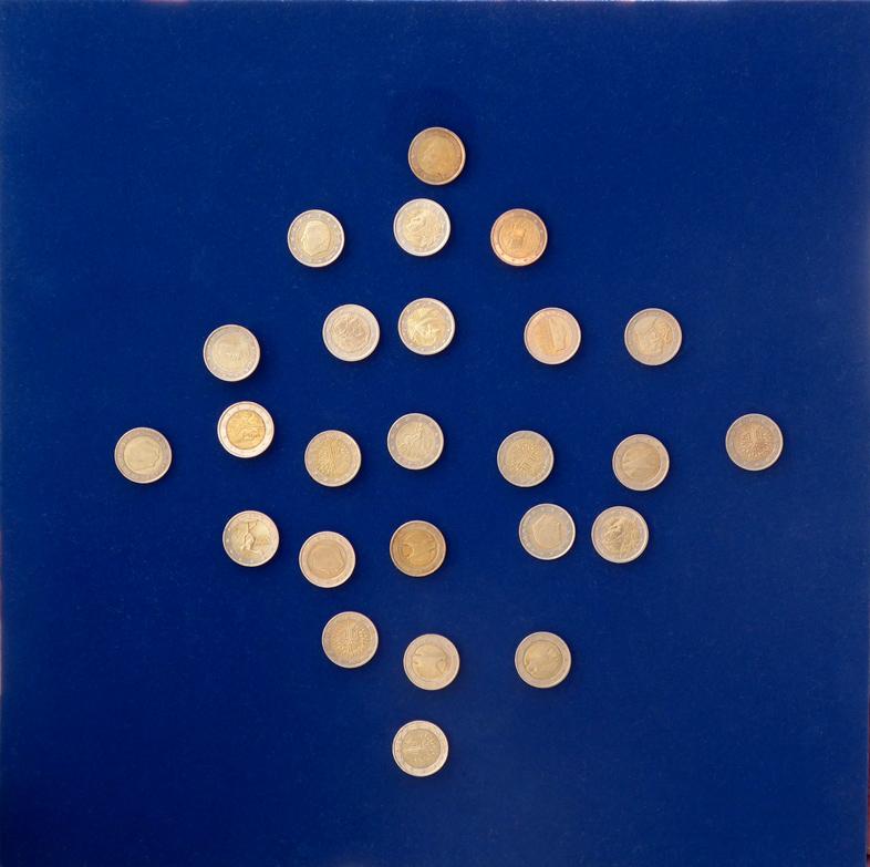 Davide-Boriani_Dinamica-Economica-25-monete_1985-2003_40x40x10