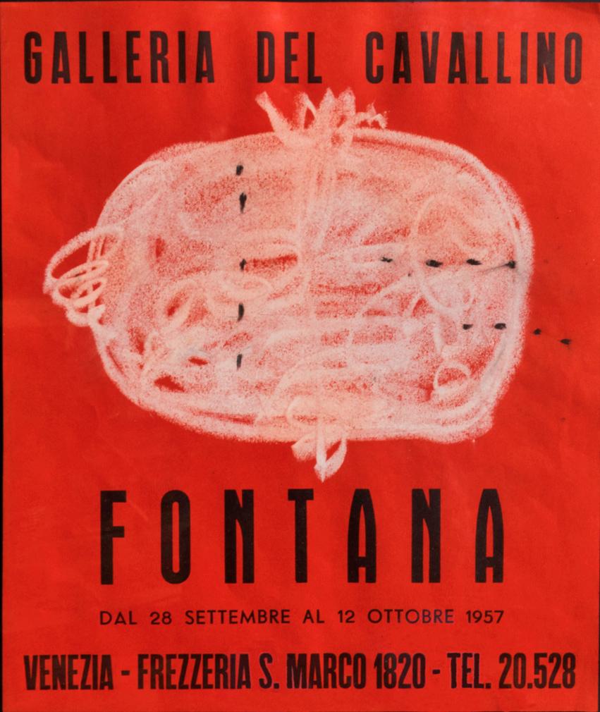 Fontana-Lucio_Manifesto-galleria-Il-Cavallino-(VE)_1957_disegno-originale-pastello-su-carta_39,2x28cm_1