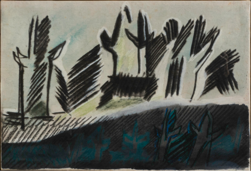 Licata-Riccardo_Bolgheri_1957_tecnica-mista-su-carta-riportata-su-tela_32x46cm